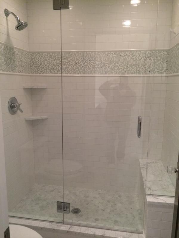 Shower With Glossy White Subway Porcelain Tile Pebble Accents And